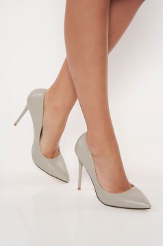 Office with high heels from ecological leather grey stiletto shoes slightly pointed toe tip