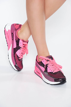 Pink casual low heel sneakers light sole with lace