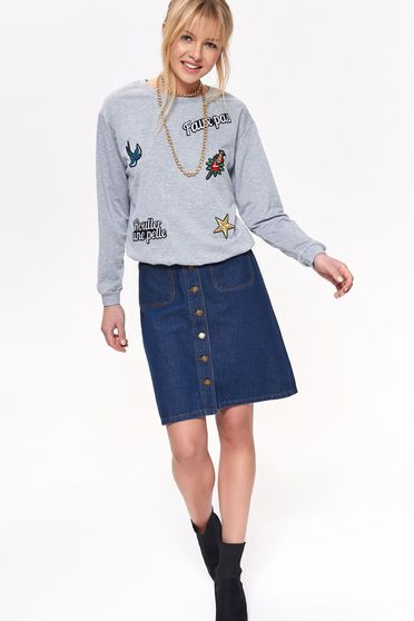 Top Secret grey casual flared women`s blouse long sleeved with embroidery details