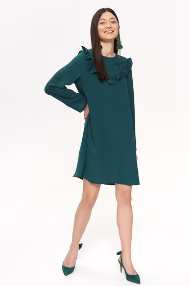 Top Secret green daily flared dress slightly elastic fabric with ruffle details