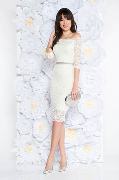 StarShinerS white occasional midi dress with tented cut from laced fabric with inside lining accessorized with tied waistband