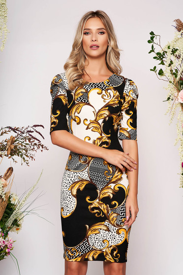 StarShinerS black daily midi dress with tented cut scuba with print details
