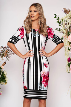 StarShinerS black daily midi dress scuba with print details with tented cut