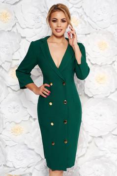Artista green elegant blazer type dress slightly elastic fabric wrap around with button accessories