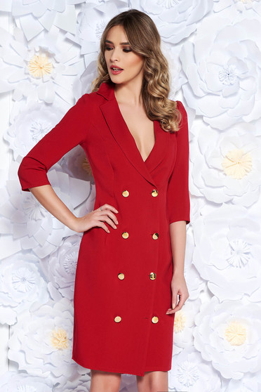 Artista red elegant blazer type dress slightly elastic fabric wrap around with button accessories