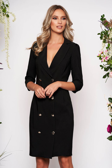 Artista black elegant blazer type dress slightly elastic fabric wrap around with button accessories