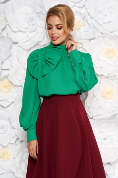 LaDonna green women`s blouse elegant flared airy fabric with inside lining bow accessory