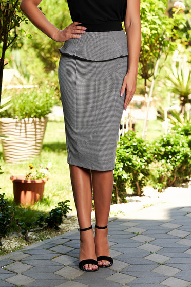 6a0dc18560 Black skirt office pencil high waisted slightly elastic fabric with frilled  waist