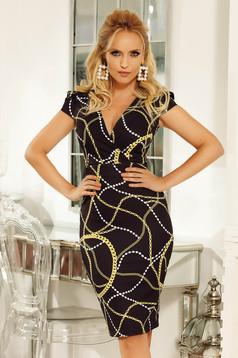 Fofy black dress with v-neckline elegant pencil slightly elastic fabric