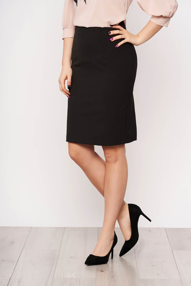 StarShinerS black office skirt straight high waisted slightly elastic fabric with inside lining