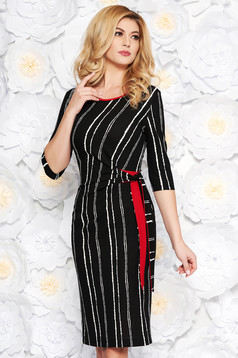 StarShinerS black daily midi pencil dress from elastic fabric with 3/4 sleeves