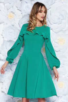 LaDonna green elegant cloche dress slightly elastic fabric with inside lining with ruffles on the chest