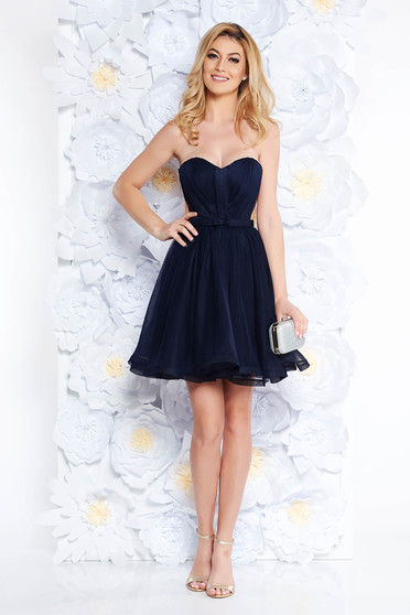 Ana Radu darkblue corset dress with push-up cups luxurious from tulle with inside lining accessorized with tied waistband