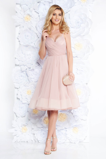 Ana Radu luxurious cloche from tulle with inside lining with push-up cups rosa dress