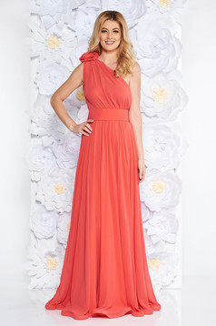 Ana Radu orange voile fabric one shoulder dress luxurious accessorized with tied waistband