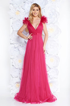 Ana Radu fuchsia luxurious dress from tulle with inside lining with deep cleavage with push-up cups