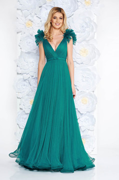 Ana Radu green luxurious dress from tulle with inside lining with deep cleavage with push-up cups