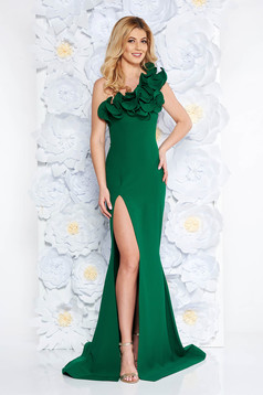 Ana Radu green occasional long mermaid dress with ruffle details with tented cut from elastic and fine fabric