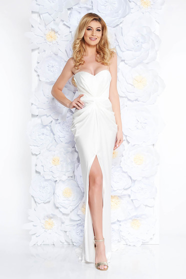 Ana Radu luxurious off shoulder dress from satin fabric texture with push-up bra accessorized with tied waistband white