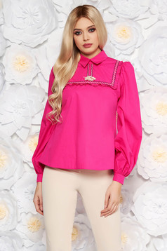 LaDonna fuchsia casual flared women`s blouse nonelastic cotton with tassels
