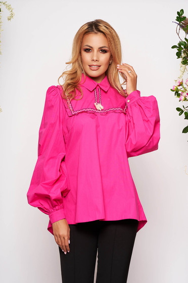 LaDonna fuchsia casual flared women`s blouse nonelastic cotton with tassels