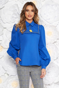LaDonna blue casual flared women`s blouse nonelastic cotton with tassels