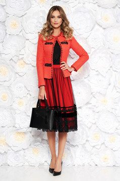 LaDonna coral elegant lady set nonelastic cotton with inside lining arched cut with a skirt