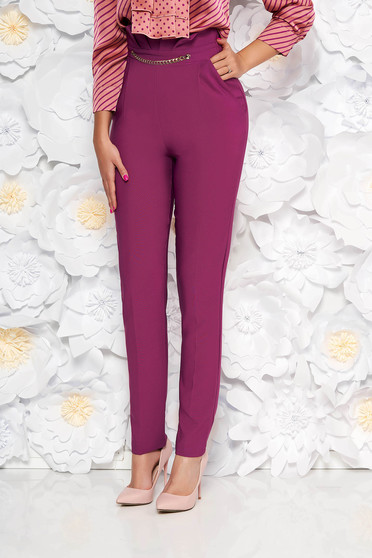 PrettyGirl purple elegant high waisted trousers slightly elastic fabric golden metallic details