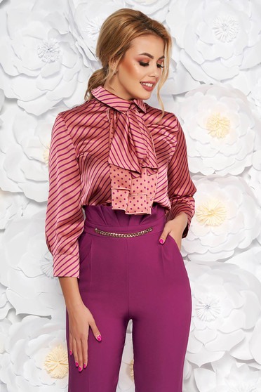 PrettyGirl purple elegant flared women`s blouse from satin fabric texture