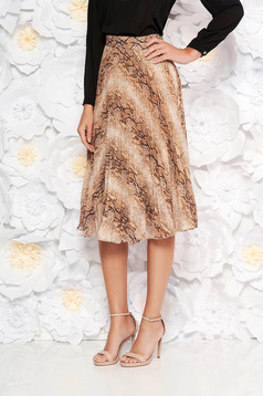 PrettyGirl brown elegant folded up cloche skirt with inside lining