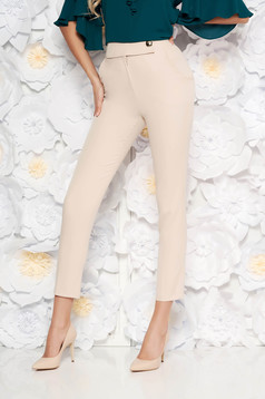 PrettyGirl rosa office conical high waisted trousers slightly elastic fabric with pockets
