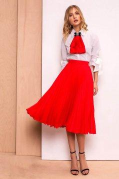 PrettyGirl red elegant folded up cloche skirt high waisted