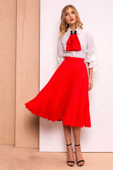 PrettyGirl red elegant folded up cloche skirt high waisted