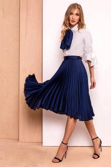 PrettyGirl darkblue elegant folded up cloche skirt high waisted