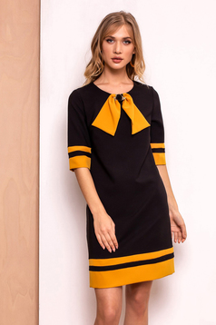 PrettyGirl black office a-line dress slightly elastic fabric with inside lining accessorized with breastpin