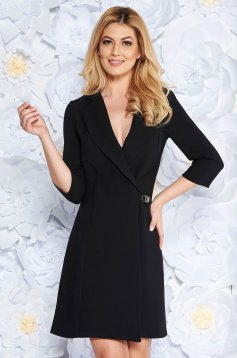 Artista black blazer type a-line elegant dress slightly elastic fabric with inside lining