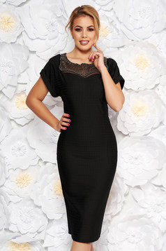 Artista black occasional midi dress slightly elastic fabric with small beads embellished details
