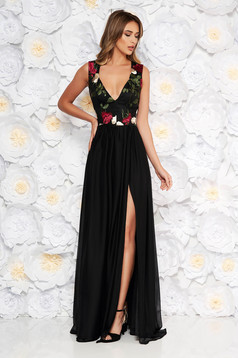 Artista occasional embroidered cloche dress from tulle with push-up cups with inside lining black