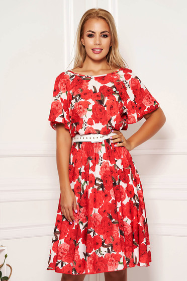 StarShinerS red cloche midi dress daily with floral print with elastic waist and butterfly sleeves