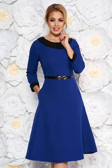 Blue elegant cloche dress slightly elastic fabric accessorized with belt