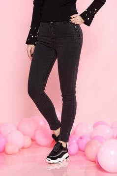 Darkgrey casual skinny jeans jeans high waisted slightly elastic cotton