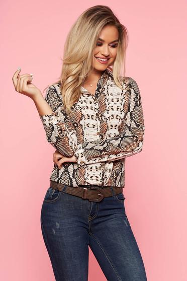 Brown women`s shirt elegant slightly elastic fabric long sleeved