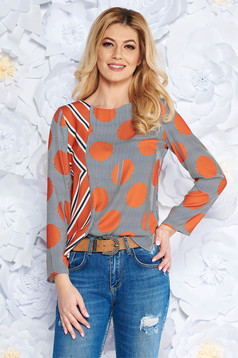 Orange women`s blouse office flared airy fabric long sleeved