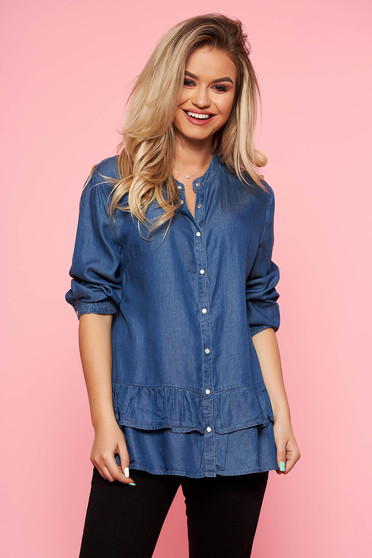 Top Secret blue casual flared women`s shirt with ruffle details