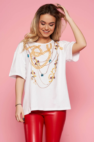 Top Secret white casual flared cotton t-shirt with graphic print