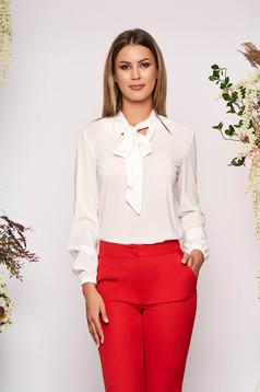 StarShinerS white elegant flared women`s blouse voile fabric
