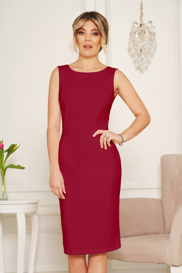 StarShinerS basic burgundy pencil with cut back dress elegant midi