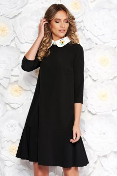 StarShinerS black elegant flared dress slightly elastic fabric with round collar embroidered