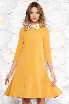 StarShinerS mustard elegant flared dress slightly elastic fabric with round collar embroidered