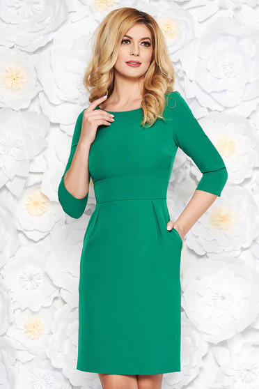 StarShinerS green office midi pencil dress slightly elastic fabric with pockets